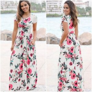Floral Short Sleeves Long dress with pockets